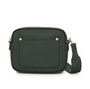 Dark Green Leather Double Zip Cross Body Bag