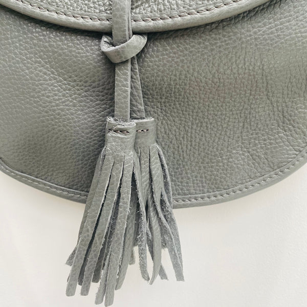 Dark Grey Leather Cross Body Tote Bag with tassel detail
