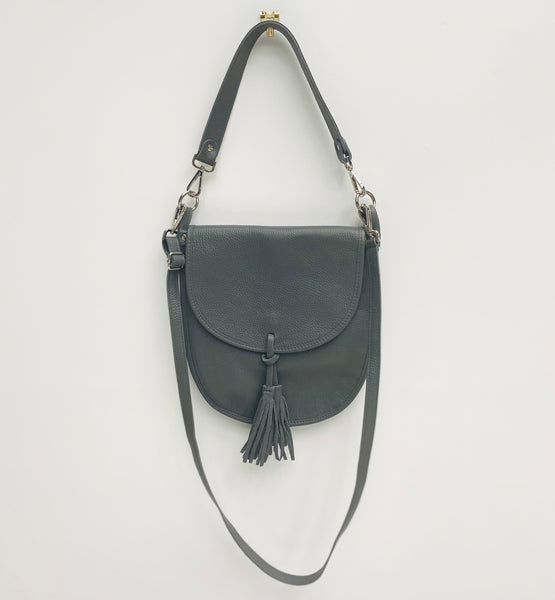 Dark Grey Leather Cross Body Tote Bag with shoulder strap and crossbody strap