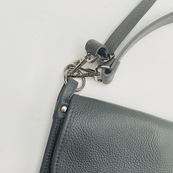 Dark Grey Leather Cross Body Tote Bag with silver hardware