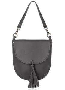 Dark Grey Leather Cross Body Tote Bag