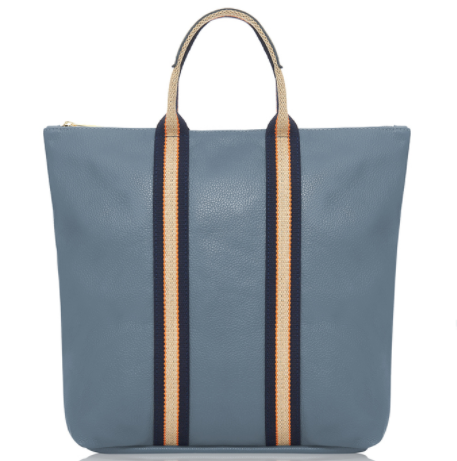 Denim Blue Leather Tote Backpack