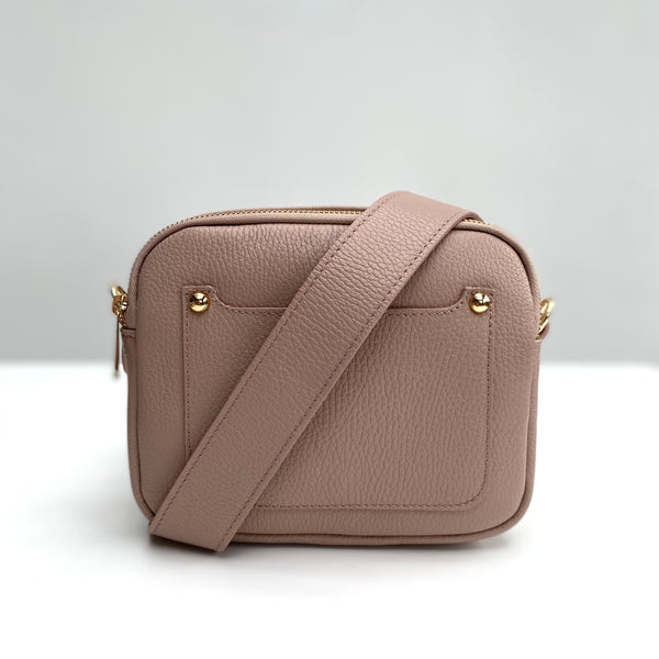 Dusky Pink Leather Double Zip Cross Body Bag strap