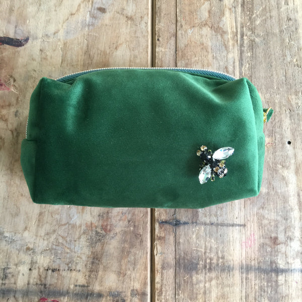 Forest Green Velvet Make Up Bag with Jewel Pin