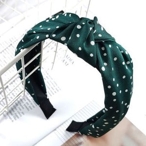 Forest Green and White Polka Print Headband