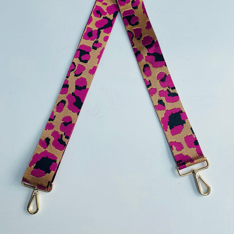 Fuchsia Pink Animal Print Bag Strap