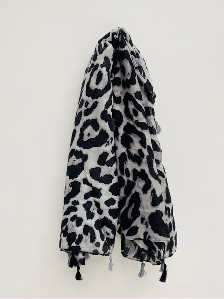 Grey and Black Leopard Print Scarf