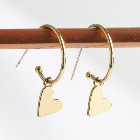 Gold Falling Hearts Earrings