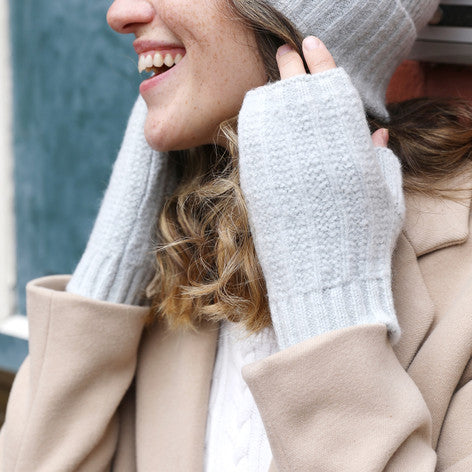 Soft Grey Knit Hand Warmers