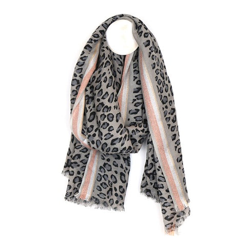 Grey and Metallic Stripe Leopard Print Scarf (Wool Mix)