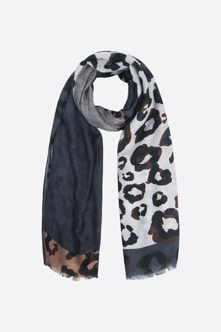 Grey and Navy Blue Block Leopard Print Scarf