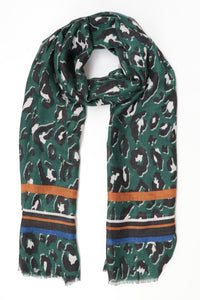 Green and Orange Stripe Leopard Print Scarf