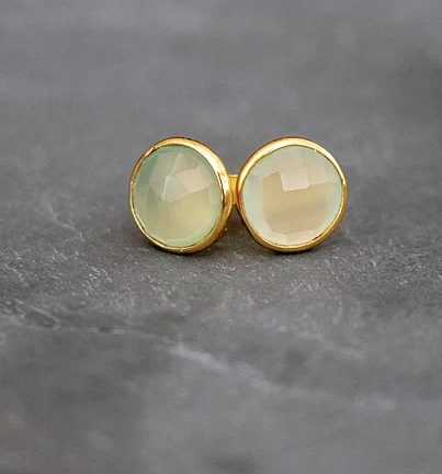 Green Prehnite Gold Stud Earrings