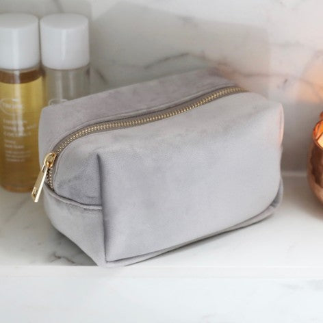 Grey Velvet Make Up Bag