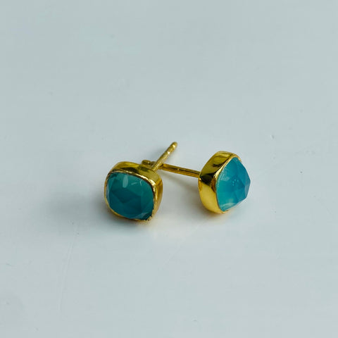 Aqua Chalcedony Gold Square Stud Earrings