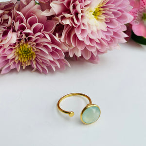 Green Prehnite Gold Adjustable Ring