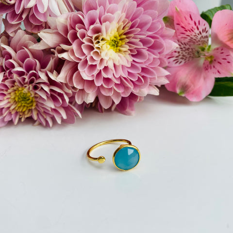 Aqua Chalcedony Gold Adjustable Ring
