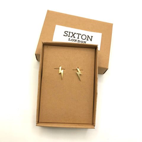Gold Lightning Bolt Earrings in recycled cardboard giftbox from Sixton London