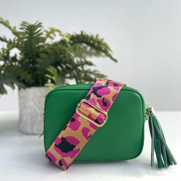Green Leather Bag with Fuchsia Pink and Gold Strap
