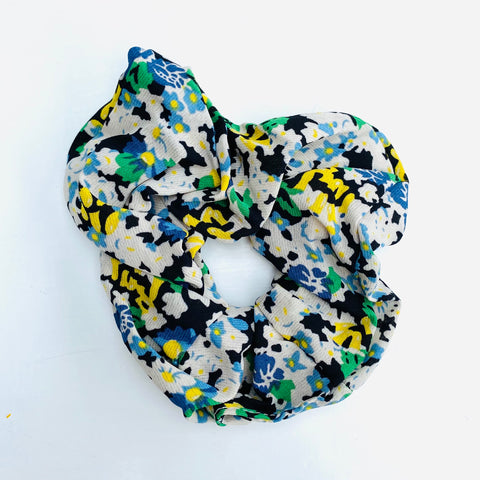 Green and Black Floral Print Scrunchie