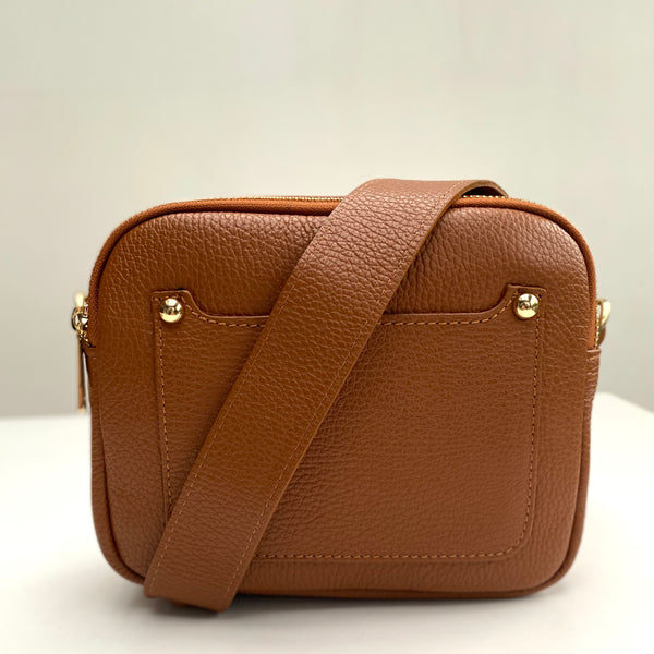 Tan Leather Double Zip Cross Body Bag