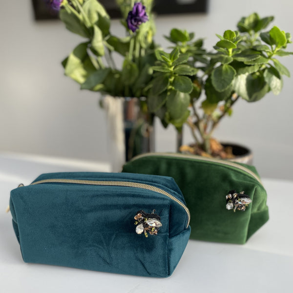 Teal and Green Velvet Make Up Bags Small sixton
