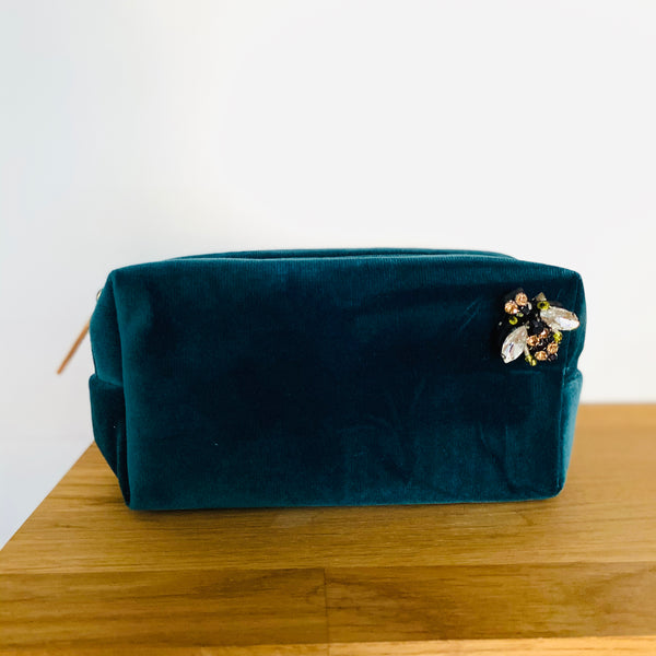 Teal Velvet Make Up Bag Small sixton on shelf