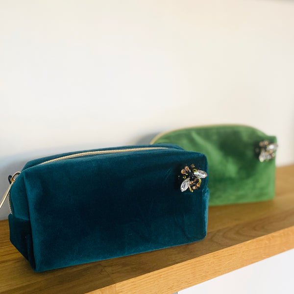 Teal and Green Velvet Make Up Bags Small sixton on shelf