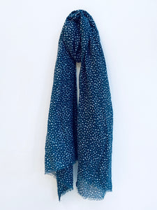 Washed Navy Dot Pattern Scarf