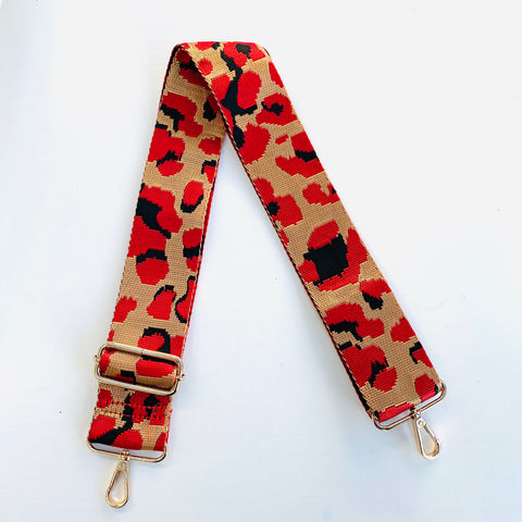Red and Gold Animal Print Bag Strap - PREORDER
