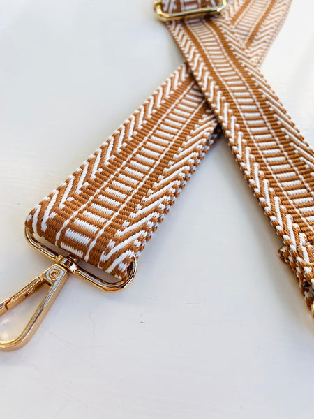 Taupe Bar Pattern Bag Strap