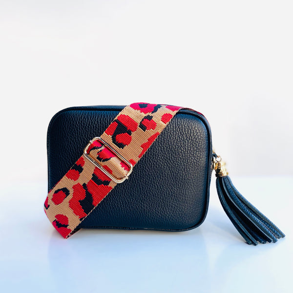 Red and Gold Animal Print Bag Strap