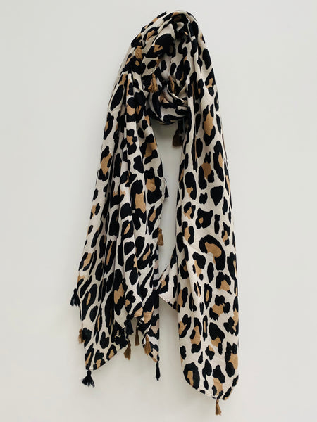 Beige and Stone Leopard Print Scarf