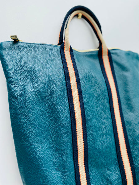 Teal Leather Tote Backpack