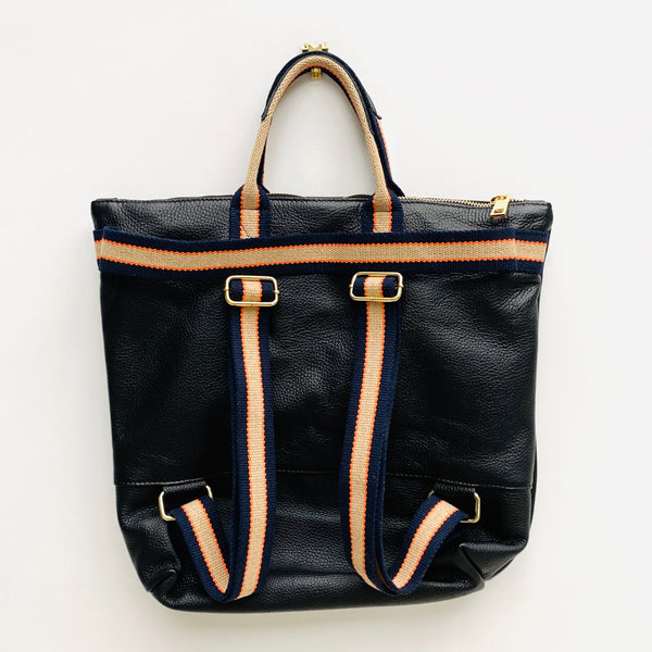 Black Leather Tote Backpack