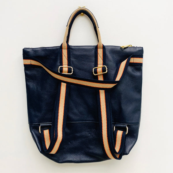 Navy Leather Tote Backpack