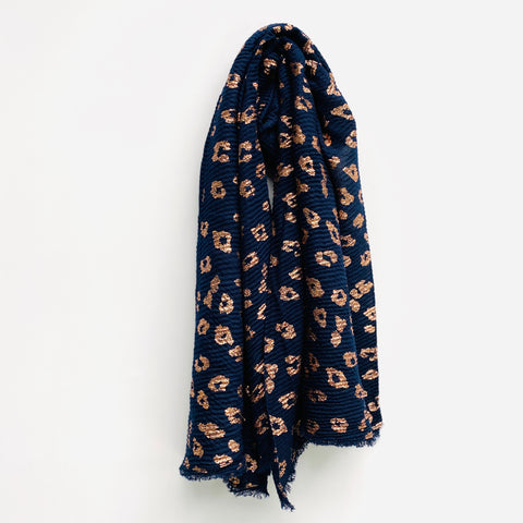 Navy and Copper Leopard Print Scarf