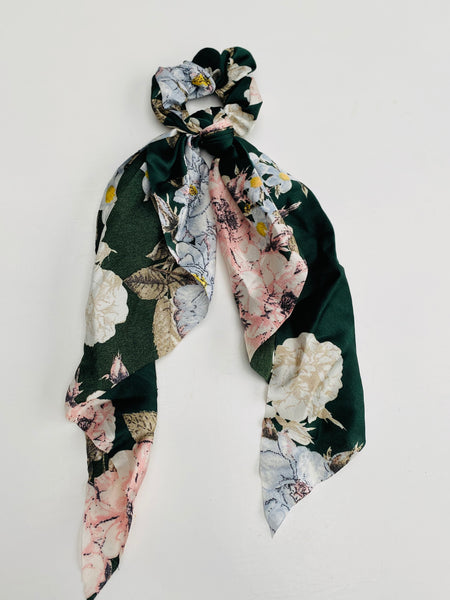 Forest Green Floral Scarf Scrunchie
