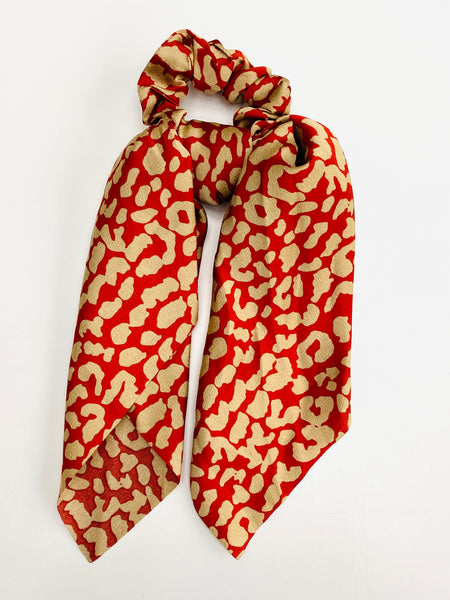 Red Animal Print Scarf Scrunchie