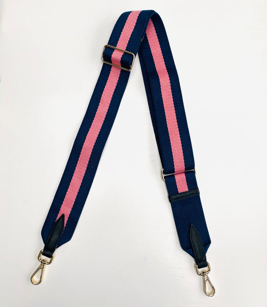 Navy and Pink Stripe Bag Strap