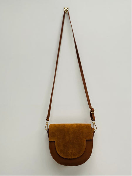 Tan Suede and Leather Saddle Bag