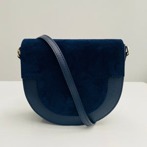 Navy Suede and Leather Saddle Bag
