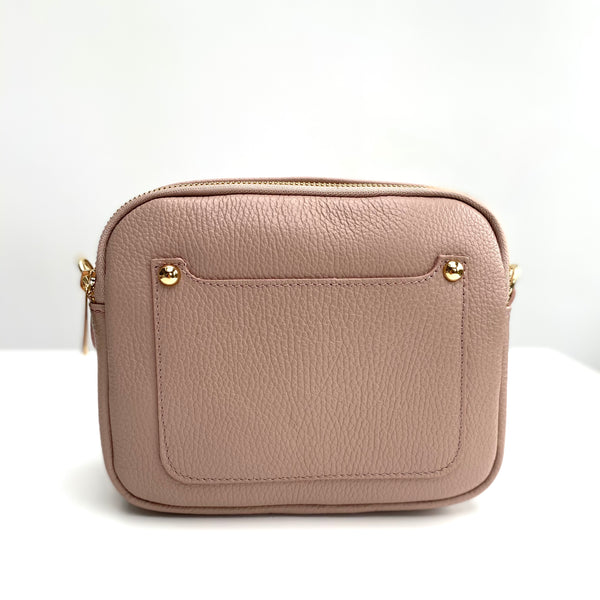 Dusky Pink Leather Double Zip Cross Body Bag no strap