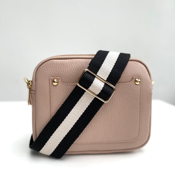 Dusky Pink Leather Double Zip Cross Body Bag monochrome strap
