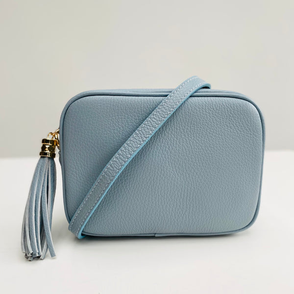Baby Blue Leather Tassel Cross Body Bag