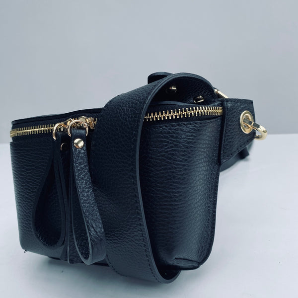 Black Leather Small Box Bag