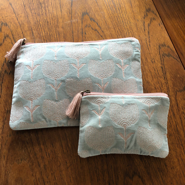Pale Blue and Pink Tulip Velvet Pouch (two sizes available)