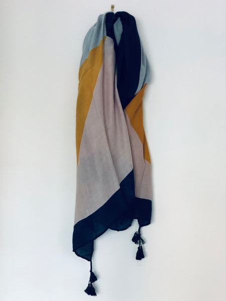 Black, Yellow and Pastel Geometric Pattern Scarf
