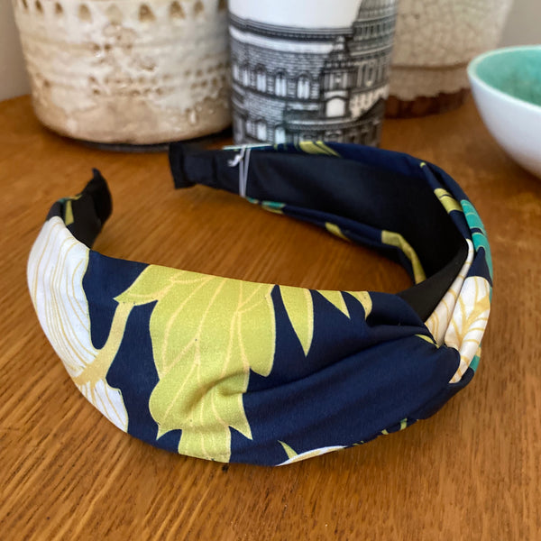 Navy Tropical Print Wide Headband