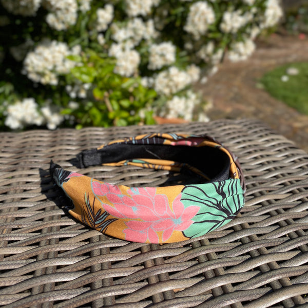 Mustard Tropical Print Wide Headband